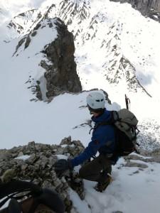 Wir beginnen den Abstieg über den Westgrat