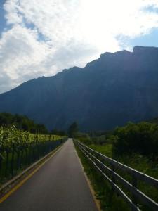 Der schöne Radweg auf der Westseite des Sarca-Tals