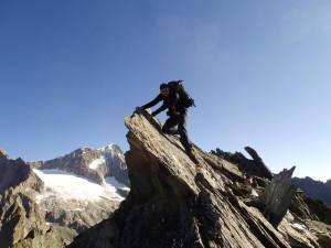 Letzte Kletterstelle vor dem Gipfel des Strahlhorns