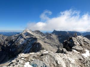Blick von der Großen Seekarspitze nach Osten auf Marxenkar-, Ödkar-, Birkkar- und Kaltwasserkarspitzen