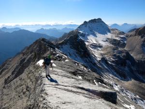 Kurz vor dem Gipfel der Marxenkarspitze; hinter uns die Große Seekarspitze