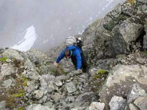 Konzentrierte Kletterei am Hochreichkopf