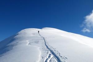 Kurz vor dem Gipfel des Schönalmjochs