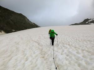 Aufstieg am Glacier d'Orny bei kurzzeitig trockenem Wetter
