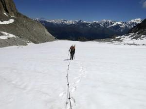 Dieses Mal war es heiß, als wir über den Glacier d'Orny aufstiegen.