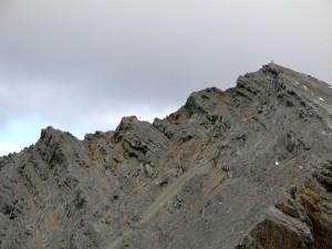 Rückblick zur Hinteren Bachofenspitze; links unser Aufstiegsgrat.