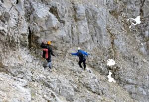 Feinster Karwendelbruch zwischen Vor- und Hauptgipfel des Roßkopfes