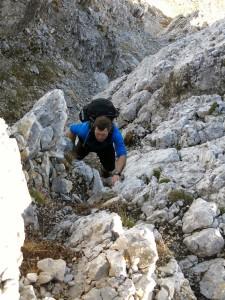 Die letzte richtige Kletterstelle...
