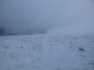 An der Bodenalm sieht es schon richtig winterlich aus.