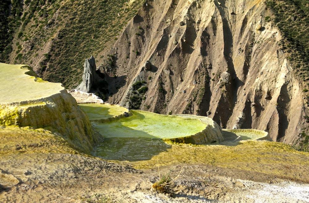 Baños Azules Tupungato:Die Baños Azules, terrassenförmig angeordnete flache Wasserbecken