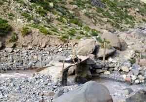 Der Pegel des Río Azufre ist leicht gefallen.