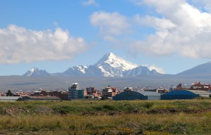 Was für ein Berg: Huayna Potosí von El Alto aus gesehen.