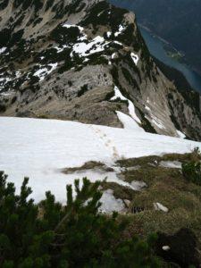 Kurzer steiler Schneeaufschwung