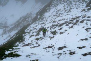 Neuschnee auf dem Weg zur Raffelspitze