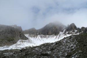 Rückblick zur Raffelspitze - der Gipfel befindet sich links der Bildmitte