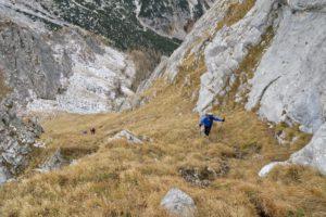 Der Weg zum Gipfel führt durch diese Grasrinne.