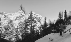 Schöner Dolomitenblick im Aufstieg