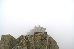 Michael ist schon am Gipfel.