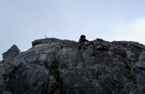 Das Wandl unter dem Gipfel ist die Schlüsselstelle der Tour.