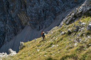 Über Grasschrofen geht es schließlich zum Gipfelgrat.