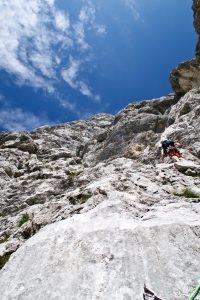 Gimpel Südostwand erste Seillänge