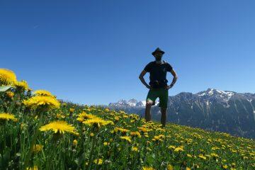 Blumen und Bergsteiger