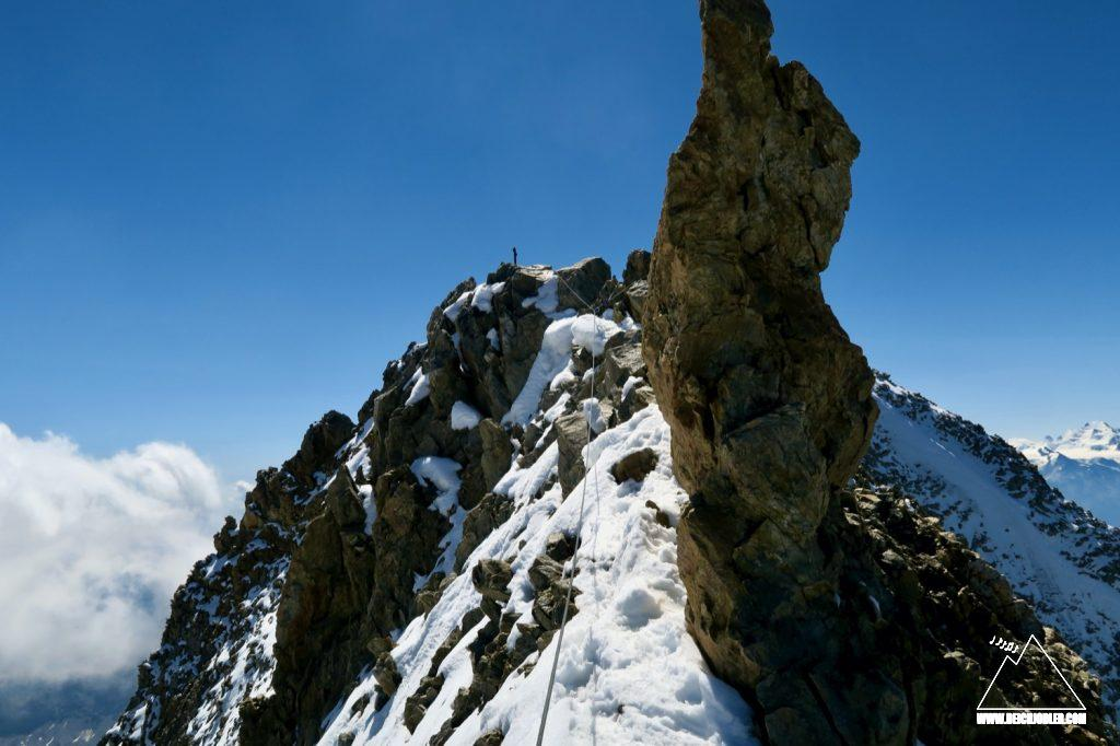 Abstieg Bietschhorn Gipfel
